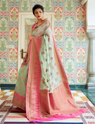 Cotton linene saree in pista green saree