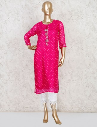 Cotton magenta casual get together pant set