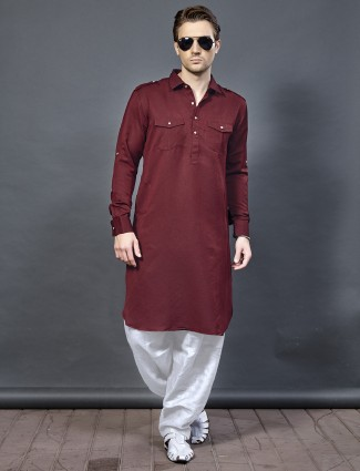Cotton maroon color pathani suit