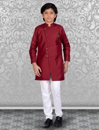 Cotton maroon new stylish kurta suit