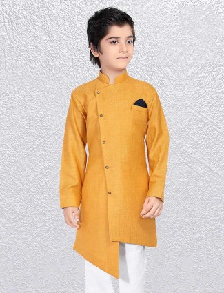 Cotton mustard yellow short kurta