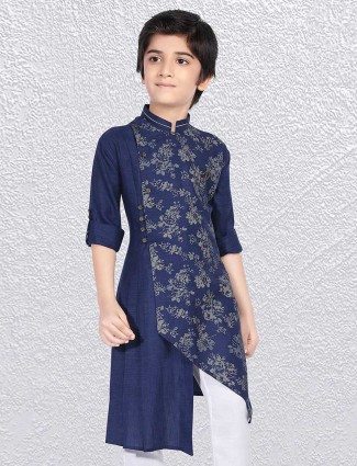 Cotton navy printed short kurta