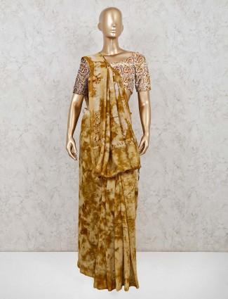 Cotton olive printed festive wear saree