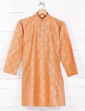Cotton orange festive wear kurta suit