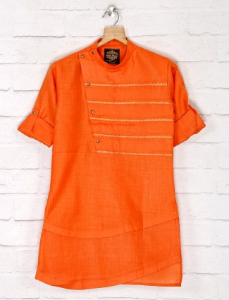 Cotton orange festive wear kurta suit for boys