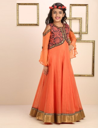 Cotton orange gown for wedding function