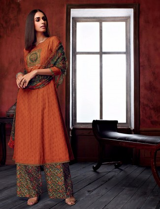 Cotton orange graceful salwar suit