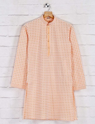 Cotton orange kurta suit in festive wear