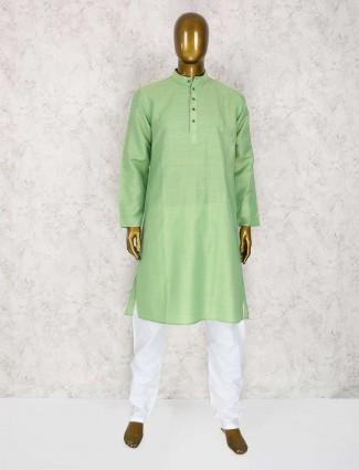 Cotton parrot green kurta suit