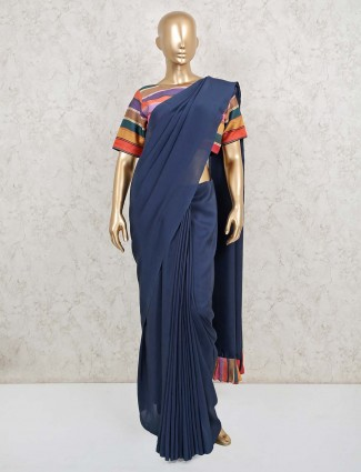 Cotton party function solid navy ready made blouse saree