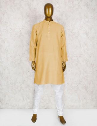 Cotton party wear light yellow kurta suit