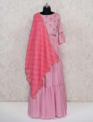 Cotton party wear pink floor length anarkali suit