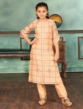 Cotton peach festive punjabi pant suit