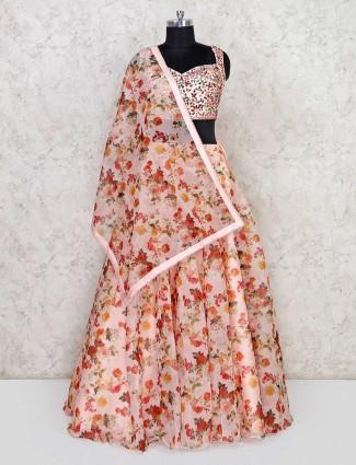 Cotton peach lehenga choli in floral print
