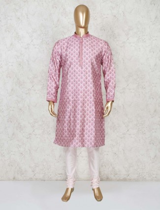 Cotton pink printed full sleeves kurta suit