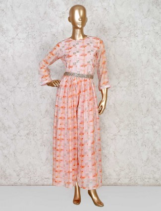 Cotton pink printed salwar suit for festive