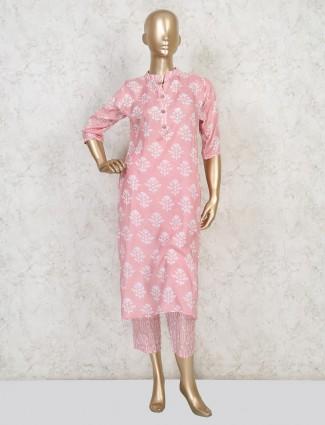 Cotton pink quarter sleeve pant suit