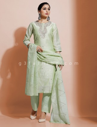 Cotton pista green festive kurti set
