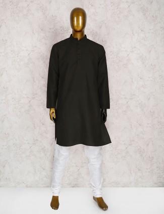 Cotton plain black kurta suit