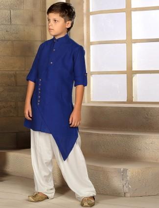 Cotton plain festive wear blue kurta suit