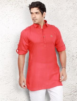 Cotton plain red short pathani