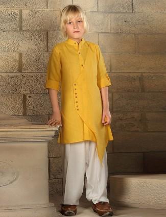 Cotton plain yellow kurta suit