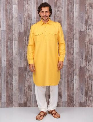 cotton plain yellow pathani suit
