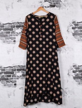 Cotton printed kurti in casual wear black color
