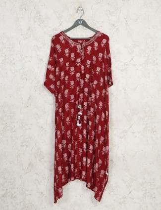 Cotton printed maroon kurti for festive wear