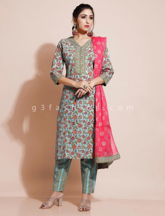 Cotton printed pant style salwar suit in green