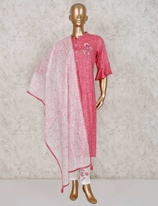 Cotton printed pink kurti in festive