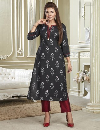 Cotton printed punjabi salwar suit in black