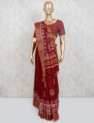 Cotton printed saree in maroon