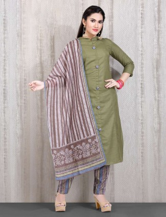 Cotton punjabi olive printed straight cut suit