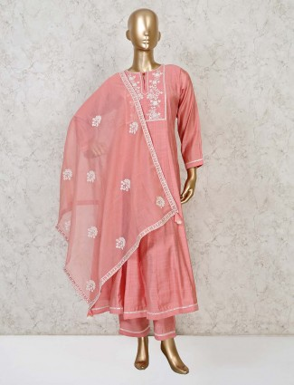 Cotton punjabi pant suit in pink
