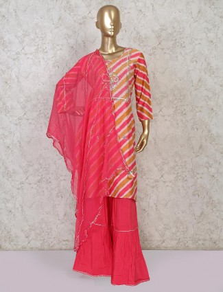 Cotton punjabi sharar suit in pink for parties