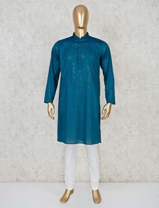 Cotton rama green color kurta suit