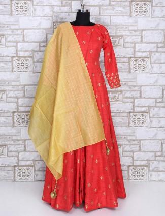 Cotton red color anarkali suit