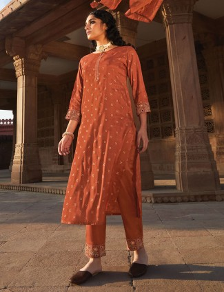 Cotton rust orange punjabi pant suit for festive