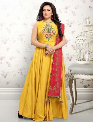 Cotton silk anarkali salwar suit in yellow color