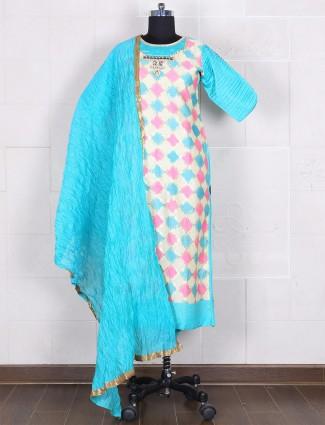 Cotton silk aqua salwar suit