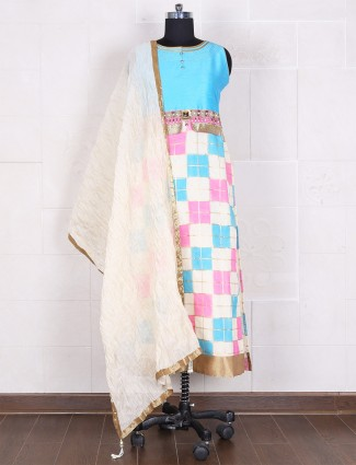 Cotton silk aqua straight salwar suit