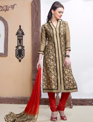 Cotton silk beige festive wear ready made nice salwar suit