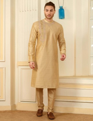 Cotton silk beige hued party wear kurta suit