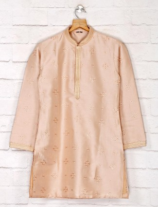 Cotton silk beige kurta suit for festive