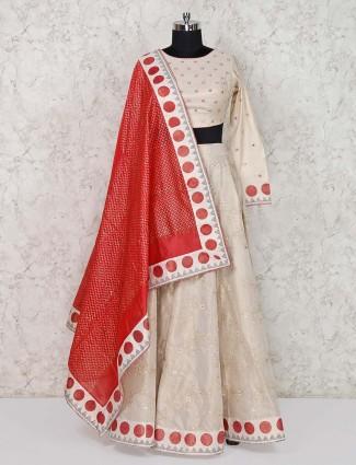 Cotton silk beige lehenga choli