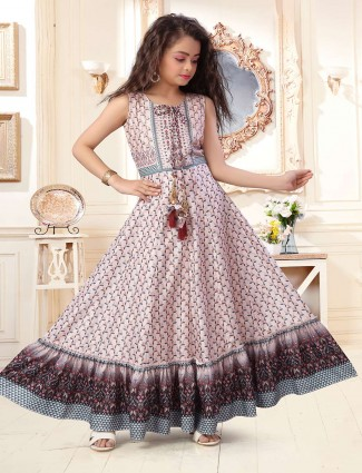 Cotton silk beige printed festive anarkali suit