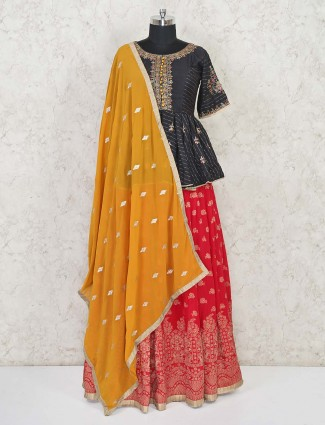Cotton silk black and red festive wear lehenga choli
