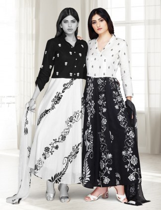 Cotton silk black and white printed anarkali suit