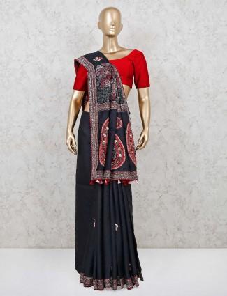 Cotton silk black designer saree
